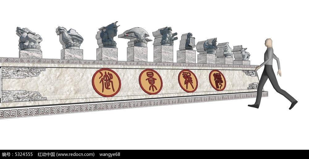 中式古典园林景观雕塑su模型图片