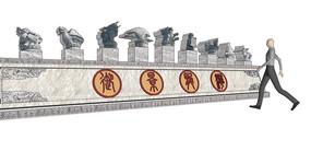 中式古典园林景观雕塑SU模型