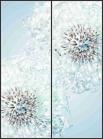 淡蓝色唯美花朵移门图案