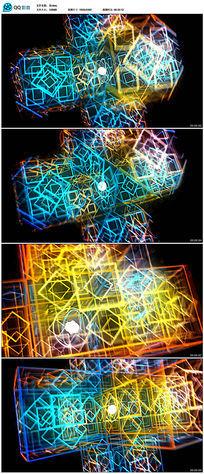 动态三维几何线框视频素材