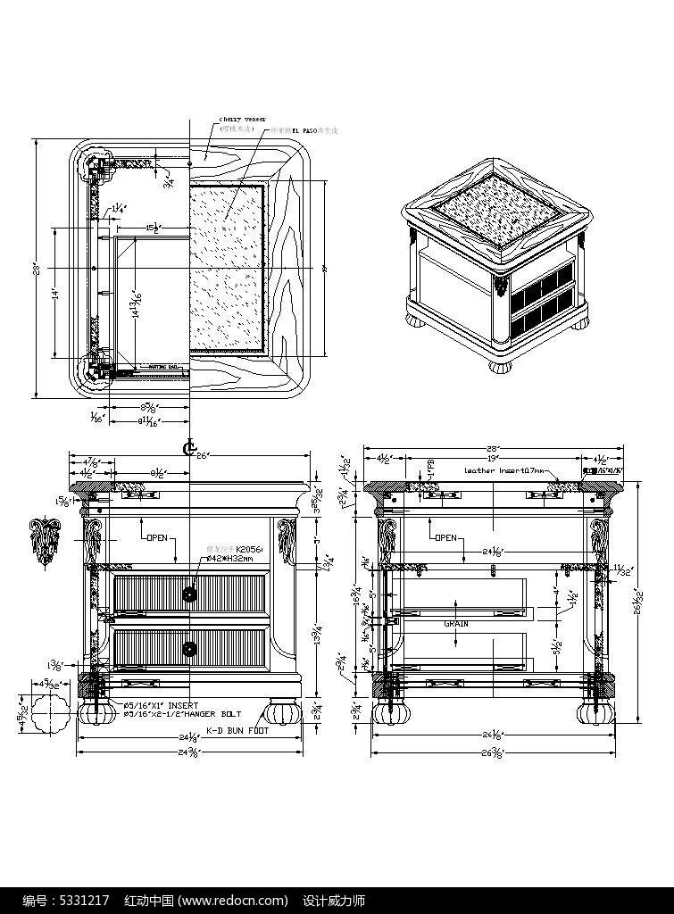 沙发手绘三视图设计图展示
