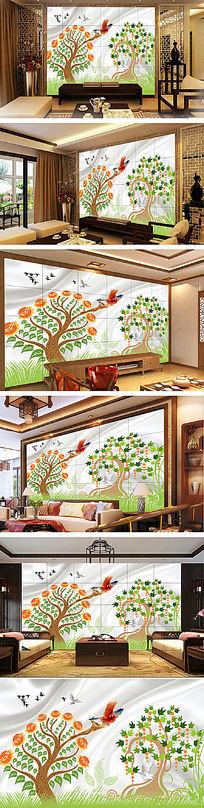 手绘儿童房背景墙装饰画