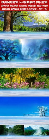 唯美四季风景led视频素材绿色大树