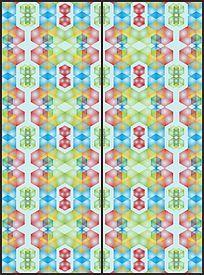 五彩六边形移门图案