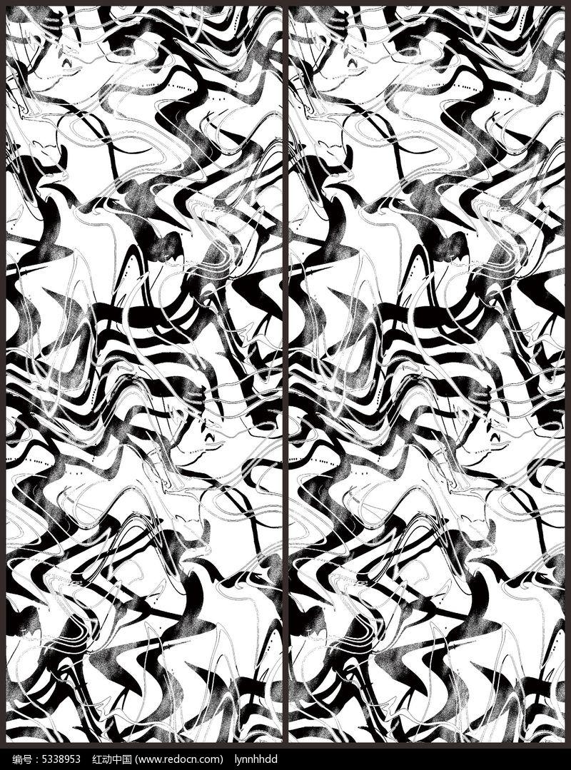 黑白波浪线条移门图案