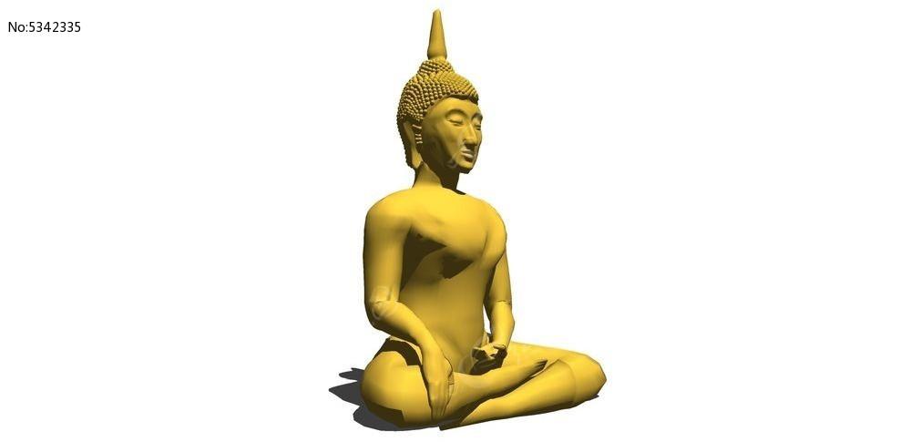 金色如来佛人物雕塑su模型skp素材下载_人物|动物模型