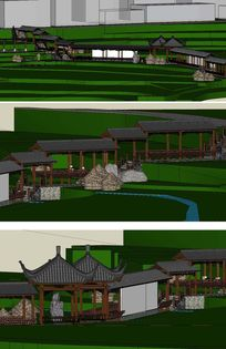农耕文化长廊景观草图SU模型