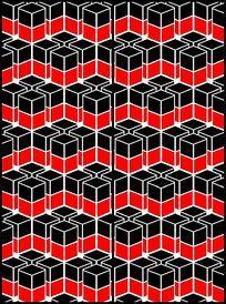 时尚黑红立体方格移门图案