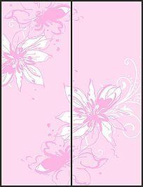 温馨唯美粉色花朵移门图案
