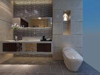 现代时尚马赛克墙面装饰卫生间3D模型