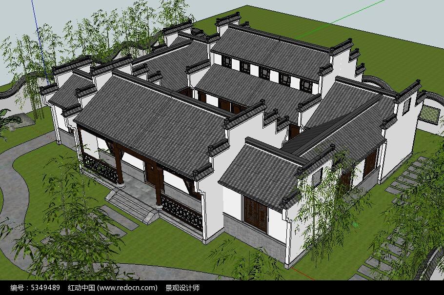 中式四合院建筑草图大师su模型