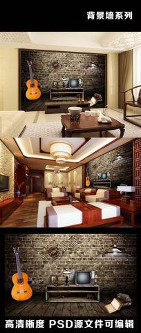 3d立体复古吉他古书老电视机背景墙