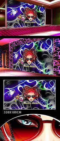DJ音乐女郎背景墙