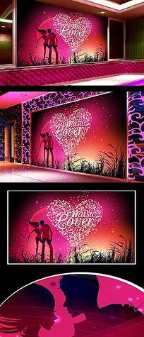 爱心浪漫背景墙
