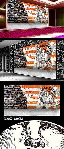 餐厅自由女神涂鸦背景墙