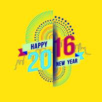 新年快乐2016矢量图标