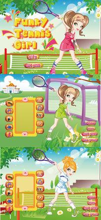 原创打网球的女孩flash换装游戏全套ai素材UI设计人设16套衣服, AI