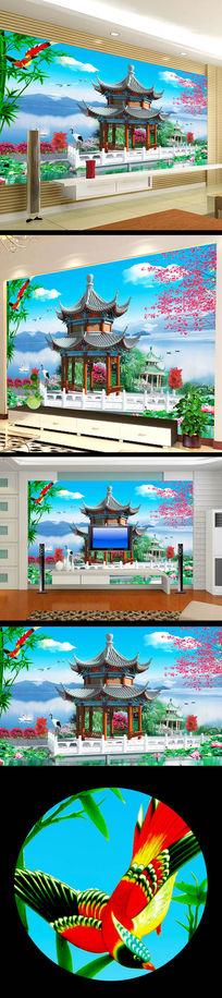 中国风西湖亭子风景画壁画