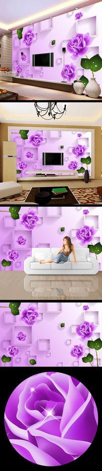 3d时尚紫色玫瑰花壁画背景画