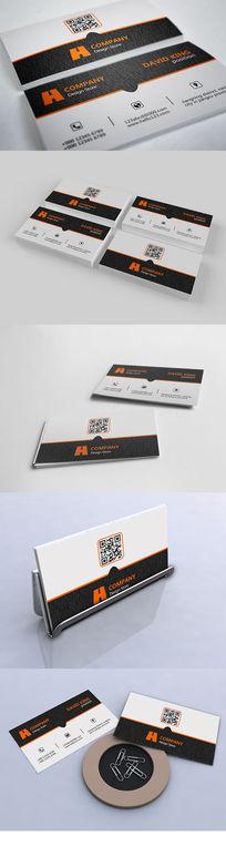 橙色木纹系列个人商务名片设计