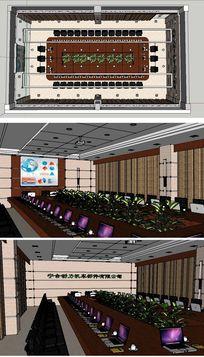 大型会议室电教室室内草图大师SU模型