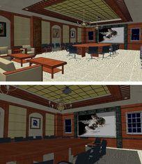 大型会议室室内草图大师SU模型
