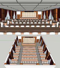大型讲座类会议室草图大师SU模型