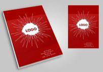 放射元素时尚红色中国风画册封面PSD