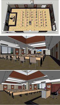高级会议室室内草图大师SU模型