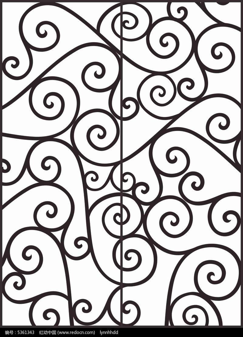 黑白简约线条移门图案