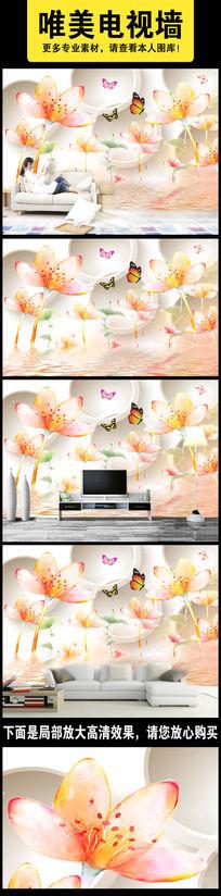 红色水彩花3D电视背景墙装饰画