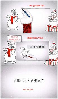 卡通圣诞雪人卡通手绘圣诞节ae模板