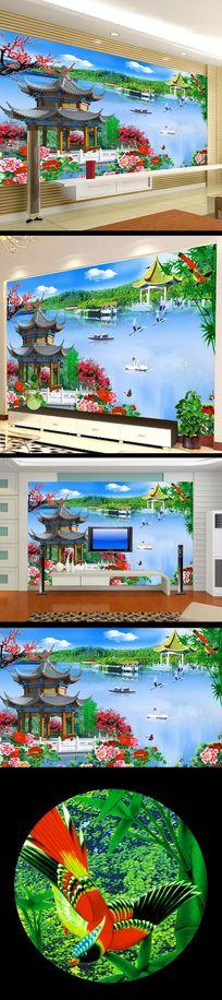 客厅江南水乡中国风电视墙
