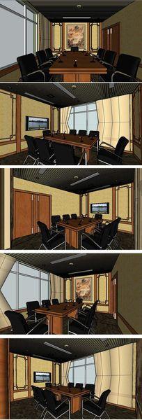 老板会议室室内草图大师SU模型
