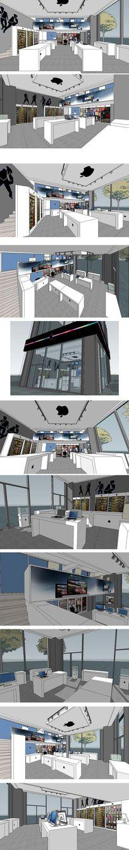 苹果专卖店门店室内草图大师SU模型