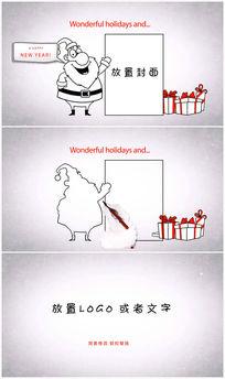 圣诞老人卡通手绘圣诞节ae模板