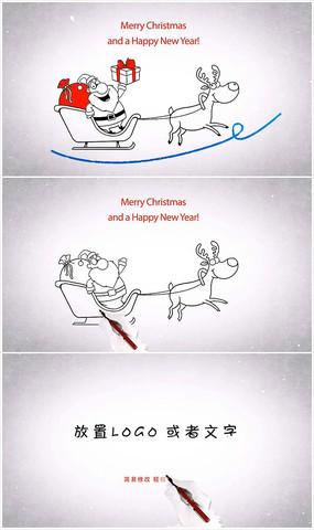 圣诞老人送礼卡通手绘圣诞节ae模板 aep