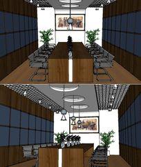 现代会议室室内草图大师SU模型