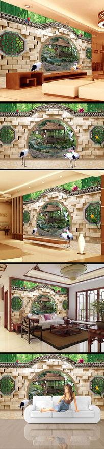 院落门窗风景画3d电视墙