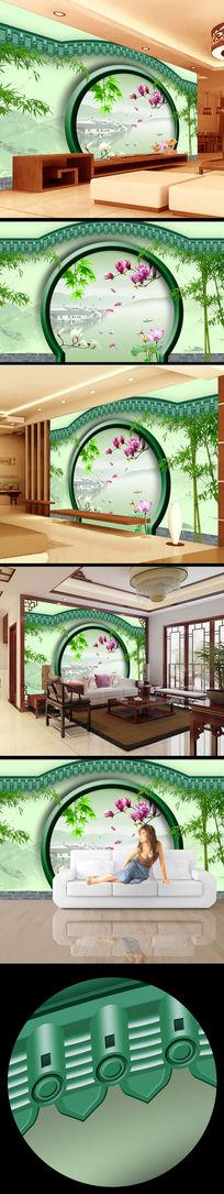 院墙门窗风景画山水壁画