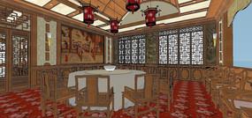 中式大包房包厢室内草图大师SU模型