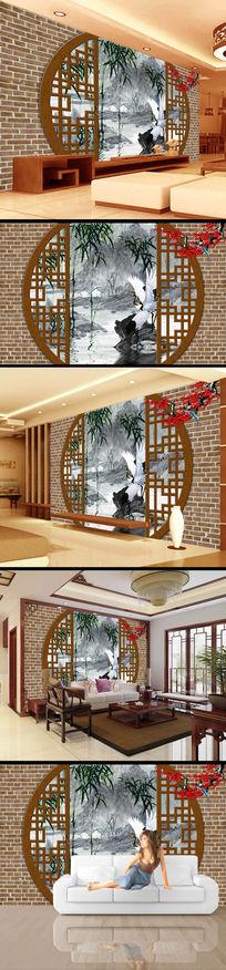 砖墙门窗水墨画古典电视墙