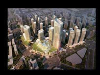 大型商业区高层建筑鸟瞰效果图 PSD