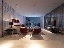 超时尚个性客厅装修3D模型
