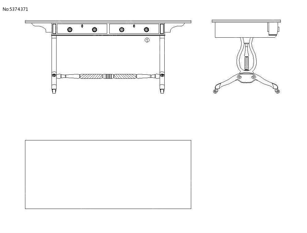 带素材写字台CAD抽屉cad掠应用技巧扫图片