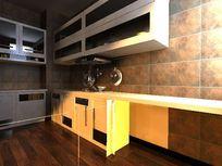 仿古L型整体厨房装修布置3D效果素材