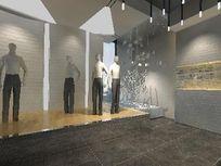 高级休闲男装展厅3D效果素材资料