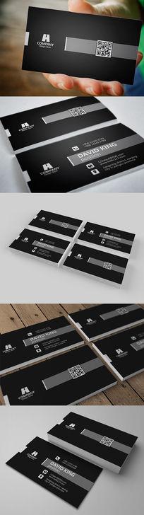 黑灰色大气个人二维码名片设计