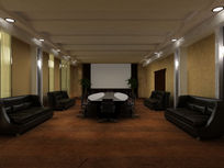 黑色基调现代简约大型会议室3dmax模型