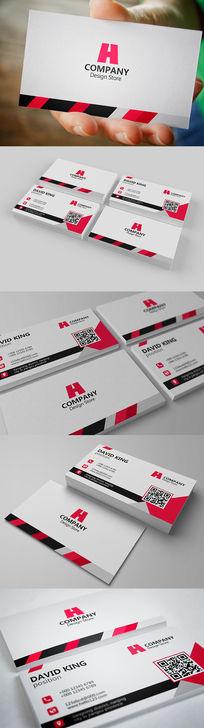 红色商务个人二维码名片设计
